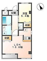 バンク・ゼフィランティア[2階]の間取り