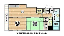 福岡県北九州市小倉北区中津口2丁目の賃貸マンションの間取り