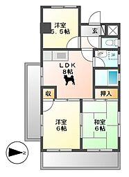 マジェスティーハイツ御成[13階]の間取り