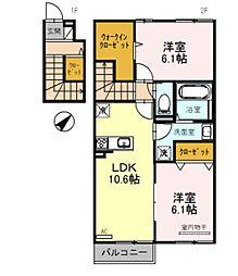 (仮称)栗東市小柿1丁目D-room A棟 2階2LDKの間取り