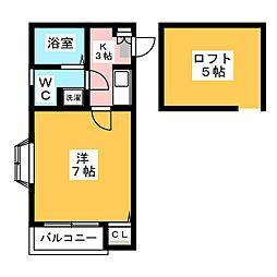 ピュア箱崎東 弐番館[1階]の間取り
