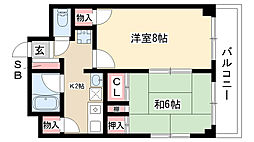 愛知県名古屋市昭和区駒方町5丁目の賃貸マンションの間取り