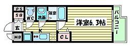プレサンス京町堀サウス 12階1Kの間取り