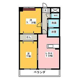 愛知県小牧市中央6丁目の賃貸マンションの間取り