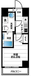 グランヴァン横濱南 5階1Kの間取り