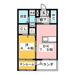 コミーテ須賀II−A[1階]の間取り