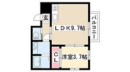 愛知県名古屋市瑞穂区花目町2丁目の賃貸アパートの間取り