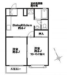 神奈川県横浜市緑区三保町の賃貸アパートの間取り