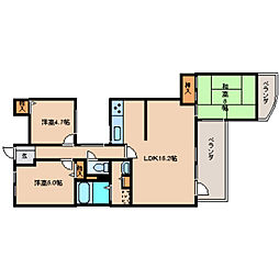 奈良県奈良市富雄北3丁目の賃貸マンションの間取り