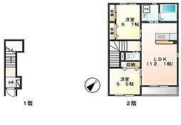 茨城県つくば市上ノ室の賃貸アパートの間取り