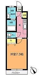 JR高崎線 北本駅 徒歩15分の賃貸アパート 2階1Kの間取り