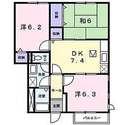 群馬県伊勢崎市宮子町の賃貸アパートの間取り