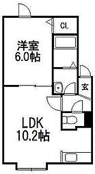 北海道札幌市手稲区曙六条3丁目の賃貸アパートの間取り