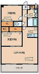 福岡県久留米市荒木町荒木の賃貸マンションの間取り