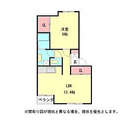 愛知県稲沢市稲島10丁目の賃貸アパートの間取り
