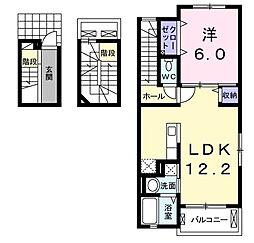 福岡県北九州市八幡西区萩原1丁目の賃貸アパートの間取り