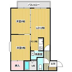 北海道砂川市西三条南1丁目の賃貸アパートの間取り