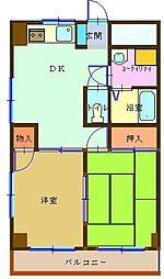ベルサトー 2階2DKの間取り