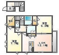 岡山県岡山市南区福島3丁目の賃貸アパートの間取り