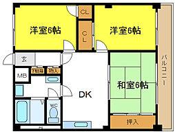 セントラルマンション平野[4階]の間取り