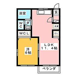 コーポウサミ B棟[1階]の間取り