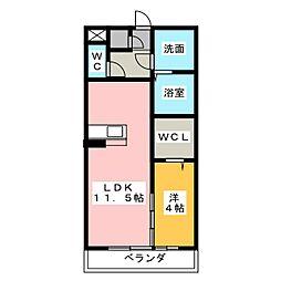 ウヴェルテュール[1階]の間取り