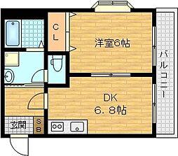 京阪本線 千林駅 徒歩5分の賃貸マンション 3階1DKの間取り