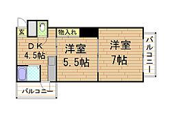マンションクラウン[5階]の間取り