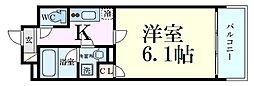 Osaka Metro堺筋線 南森町駅 徒歩3分の賃貸マンション 8階1Kの間取り