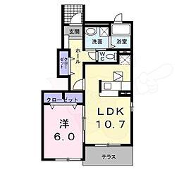 近鉄南大阪線 高鷲駅 徒歩9分の賃貸アパート 1階1LDKの間取り