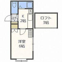 北海道札幌市白石区平和通8丁目南の賃貸アパートの間取り