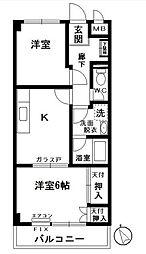 神奈川県横浜市中区大和町2丁目の賃貸マンションの間取り
