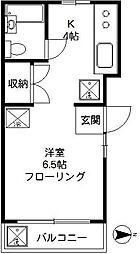 東京都世田谷区若林1丁目の賃貸アパートの間取り