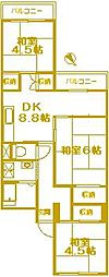 南永田団地1-3号棟[3階]の間取り