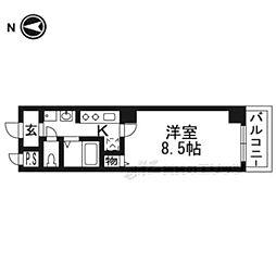阪急京都本線 富田駅 徒歩3分の賃貸マンション 2階1Kの間取り