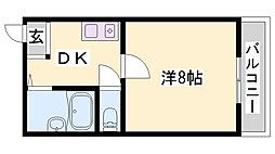 シャインコスモマンション 2階1DKの間取り