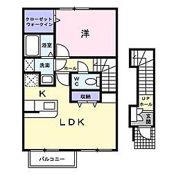 広島県福山市日吉台3の賃貸アパートの間取り