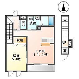 サンハイム 2階1LDKの間取り