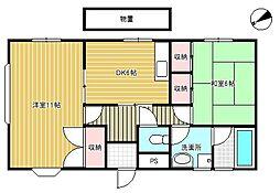 東京都世田谷区成城1丁目の賃貸アパートの間取り
