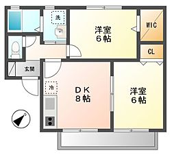 東京都三鷹市大沢5丁目の賃貸アパートの間取り
