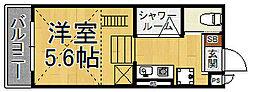 uegahara10 1階ワンルームの間取り