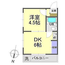 メゾントーマ 3階1DKの間取り