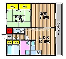 岡山県岡山市南区藤田の賃貸マンションの間取り