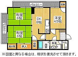 福岡県北九州市門司区稲積1丁目の賃貸マンションの間取り