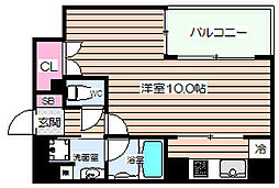 リーガル西天満Ⅲ[4階]の間取り
