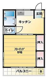 東京都世田谷区上祖師谷5丁目の賃貸アパートの間取り