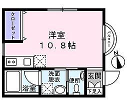 Le ciel ogura(ル シエル オグラ) 2階ワンルームの間取り