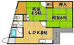 兵庫県明石市松の内2丁目の賃貸マンションの間取り