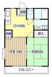 東京都東大和市清水1丁目の賃貸アパートの間取り