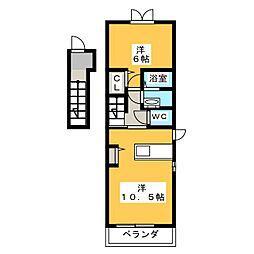 静岡県静岡市清水区永楽町の賃貸アパートの間取り